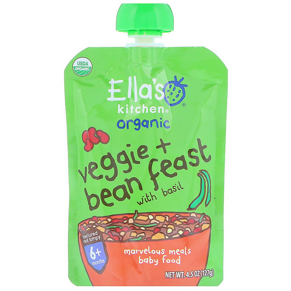 Ella's Kitchen Organic Veggie + Bean Feast with Basil 4.5 oz (127 g)