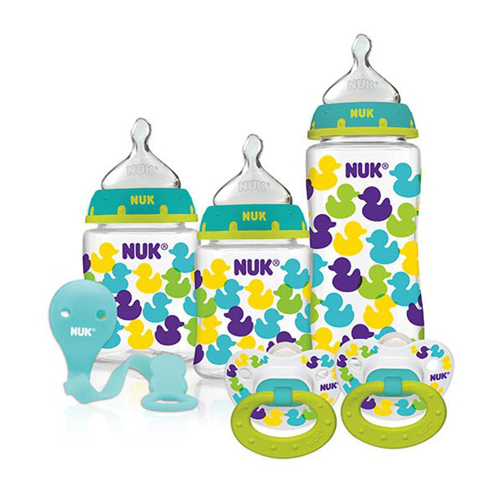 NUK, Bottles with Perfect Fit Nipples and Pacifier Gift Starter Set, Ducks, 0+ Months, 1 Set