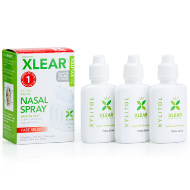Xlear Xylitol Natural Saline Nasal Spray 3 Bottles .75 fl oz (22 ml) Each
