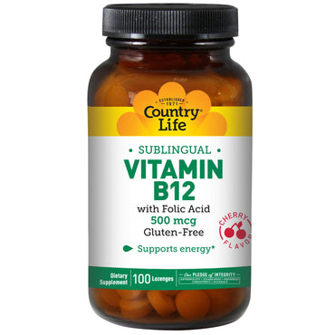 Country Life, Vitamin B12, Sublingual, Cherry Flavor, 500 mcg, 100 Lozenges