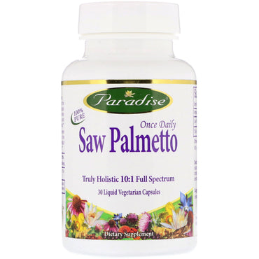 Paradise Herbs, Once Daily Saw Palmetto, 30 Liquid Vegetarian Capsules