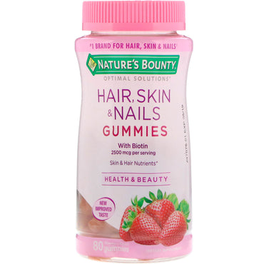 Nature's Bounty Optimal Solutions Hair Skin & Nails Gummies Strawberry Flavored 80 Gummies