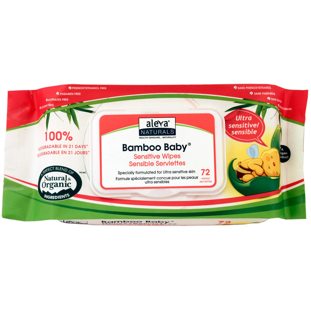 Aleva Naturals, Bamboo Baby Wipes, Ultra Sensitive, 72 Wipes