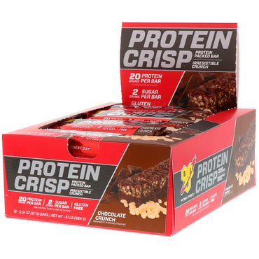 BSN Protein Crisp Chocolate Crunch Flavor 12 Bars 2.01 oz (57 g) Each