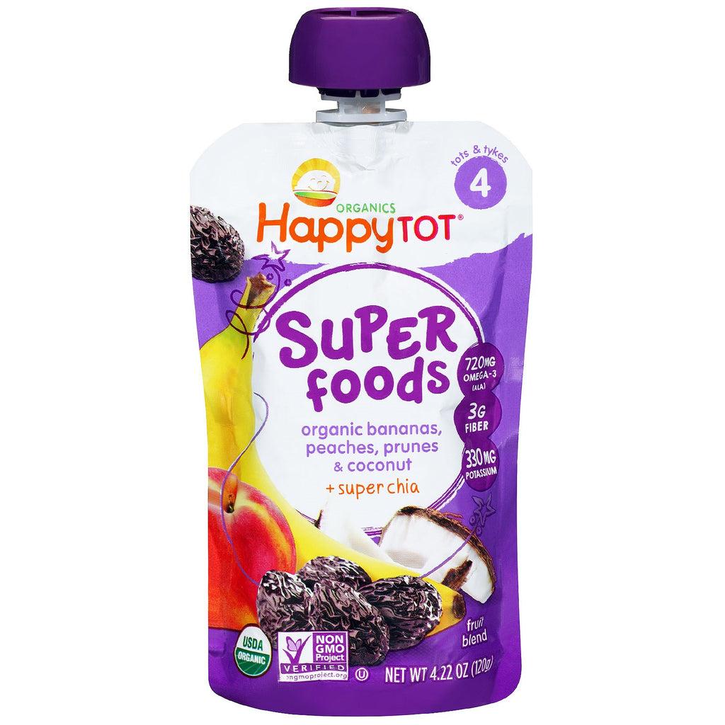 Nurture Inc. (Happy Baby) HappyTot Organic SuperFoods Bananas Peaches Prunes & Coconut + Superchia 4.22 oz (120 g)