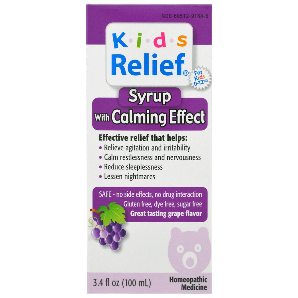 Homeolab USA, Kids Relief, Syrup with Calming Effect, Grape Flavor , 3.4 fl oz (100 ml)