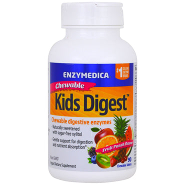 Enzymedica, Kids Digest, Chewable Digestive Enzymes, Fruit Punch, 90 Chewable Tablets