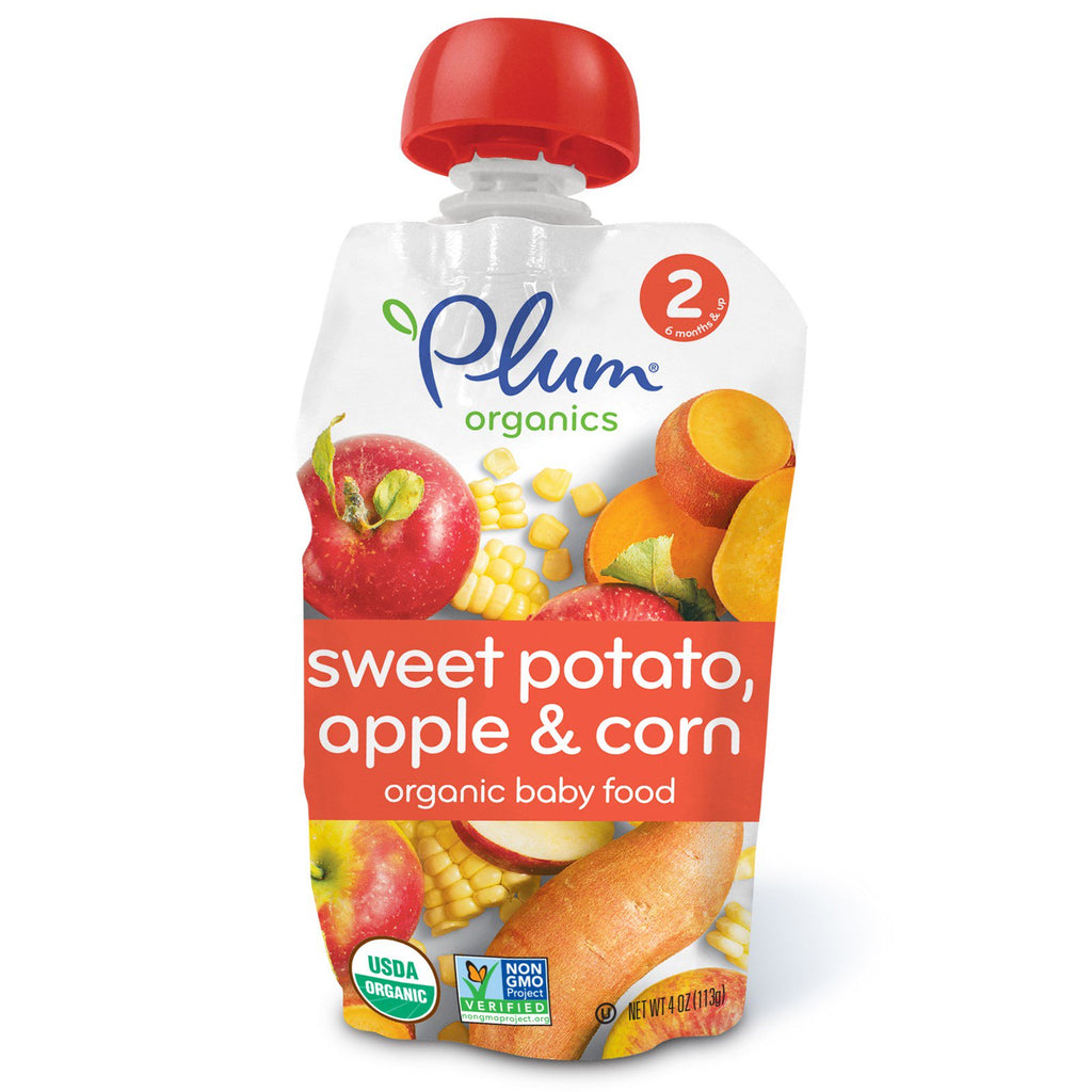 Plum Organics Organic Baby Food Stage 2 Sweet Potato Apple & Corn 4 oz (113 g)
