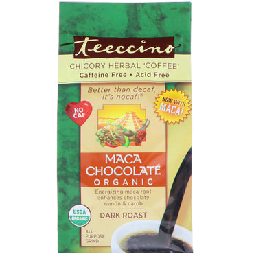 Teeccino, Organic Chicory Herbal 'Coffee', Maca Chocolate, Dark Roast, Caffeine Free,, 11 oz (312 g)