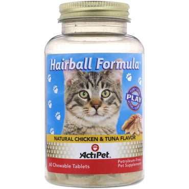 Actipet, Hairball Formula, Natural Chicken & Tuna Flavor, 60 Chewable Tablets