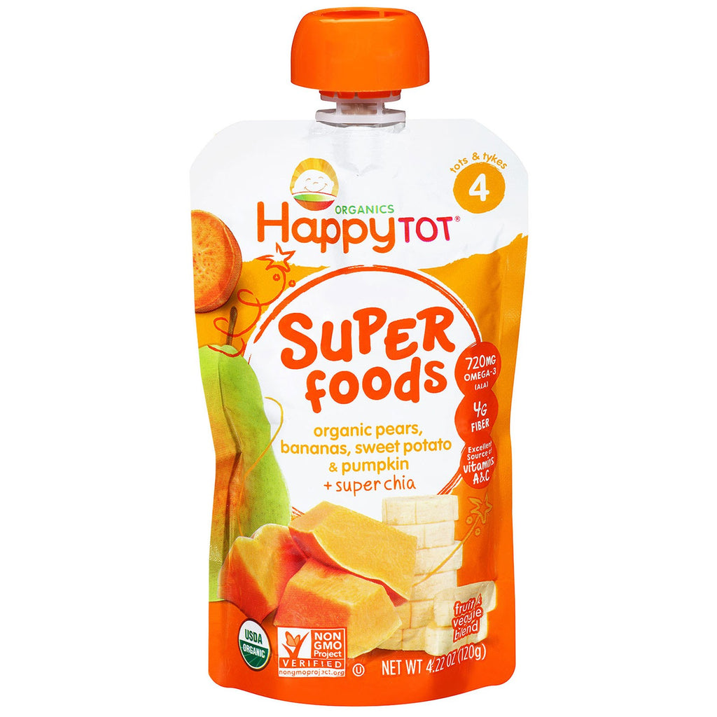 Nurture Inc. (Happy Baby) Happytot Organic Superfoods Pears Bananas Sweet Potato & Pumpkin + Superchia 4.22 oz (120 g)