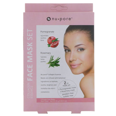 Nu-Pore, Collagen Essence Face Mask Set, Pomegranate & Rosemary, 2 Single-Use Masks, 0.85 fl oz (25 g) Each