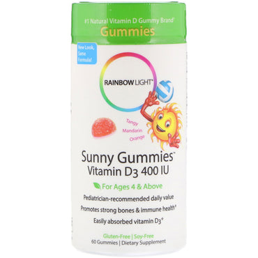 Rainbow Light, Sunny Gummies, Vitamin D3, Mandarin Orange, 400 IU, 60 Gummies