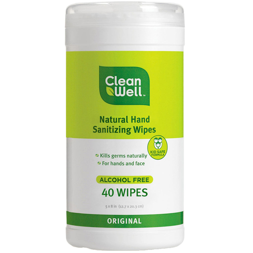Clean Well, All-Natural Hand Sanitizing Wipes, Alcohol Free, Original, 40 Wipes, 5 x 8 in (12.7 x 20.3 cm) Each