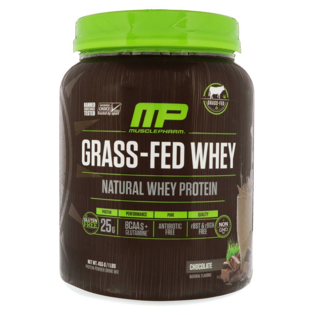 MusclePharm Natural, Grass-Fed Whey Protein, Chocolate, 1 lbs (455 g)