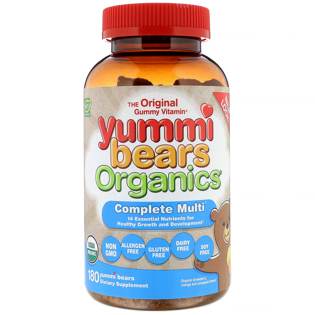 Hero Nutritional Products, Yummi Bears Organics, Complete Multi, Organic Strawberry, Orange and Pineapple, 180 Yummi Bears