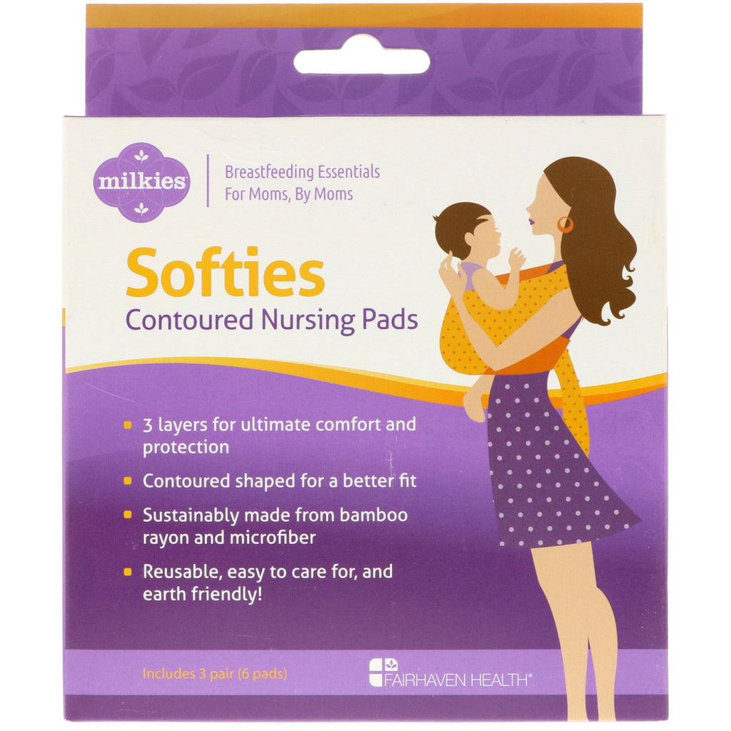 Fairhaven Health, Milkies, Softies, Contoured Reusable Nursing Pads, 3 Pairs (6 Pads)