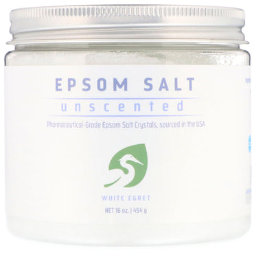 White Egret Personal Care, Epsom Salt, Unscented, 16 oz (454 g)