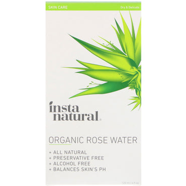 InstaNatural, Organic Rose Water, Alcohol-Free Toner for Sensitive Skin, 4 fl oz (120 ml)