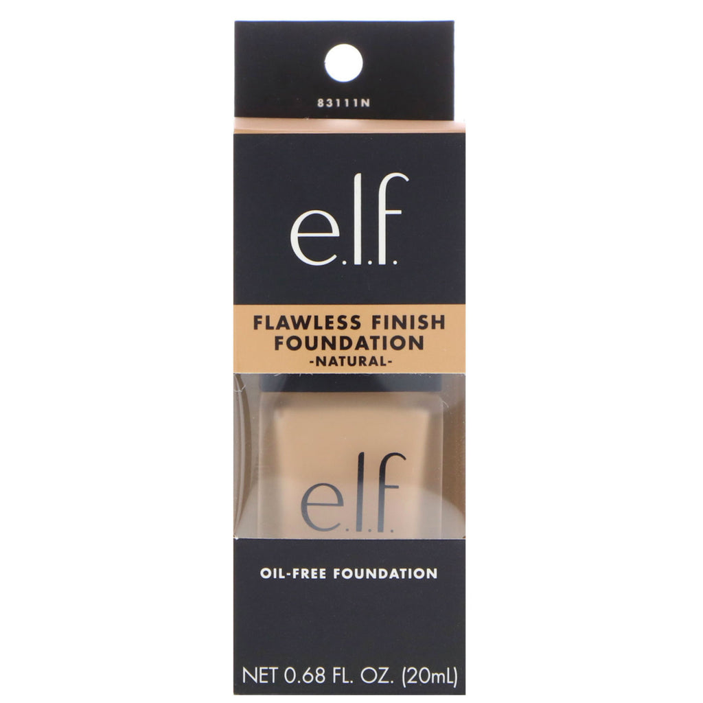 E.L.F. Cosmetics, Flawless Finish Foundation, Oil Free, Natural, 0.68 fl oz (20 ml)