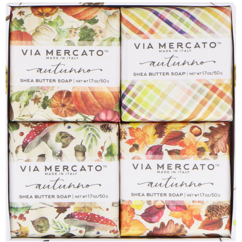 European Soaps, LLC, Via Mercato, Autumno, Shea Butter Soaps Set, 4 Soaps, 50 g Each