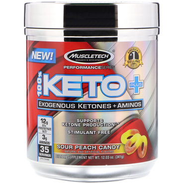 Muscletech, 100% Keto Plus, Exogenous Ketones + Aminos, Sour Peach Candy, 12.03 oz (341 g)