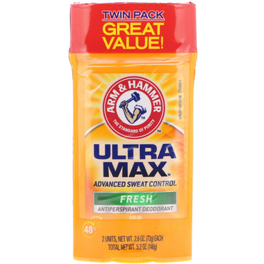 Arm & Hammer, UltraMax, Solid Antiperspirant Deodorant, for Men, Fresh, Twin Pack, 2.6 oz (73 g) Each