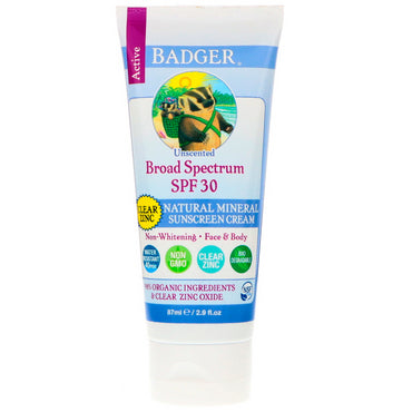 Badger Company, Natural Mineral Sunscreen Cream, Clear Zinc, SPF 30, Unscented, 2.9 fl oz (87 ml)