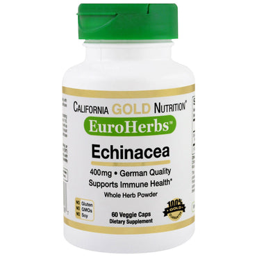 California Gold Nutrition, Echinacea, EuroHerbs, Whole Herb Powder, 400 mg, 60 Veggie Caps