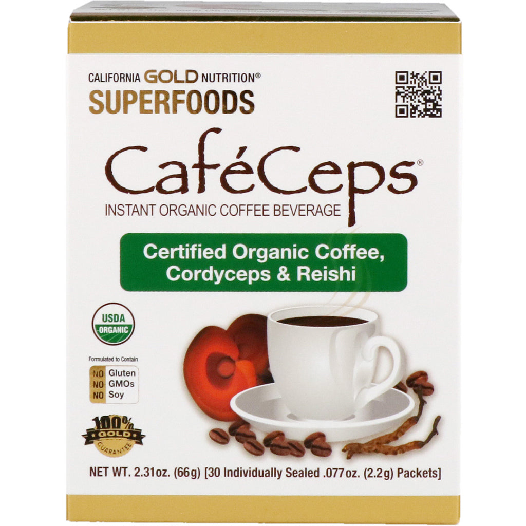 California Gold Nutrition, CafeCeps, Certified Organic Instant Coffee with Cordyceps and Reishi Mushroom Powder, 30 Packets, .077 oz (2.2 g) Each