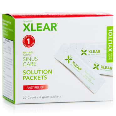 Xlear Sinus Care Solution Packets Fast Relief 20 Count 6 g Each