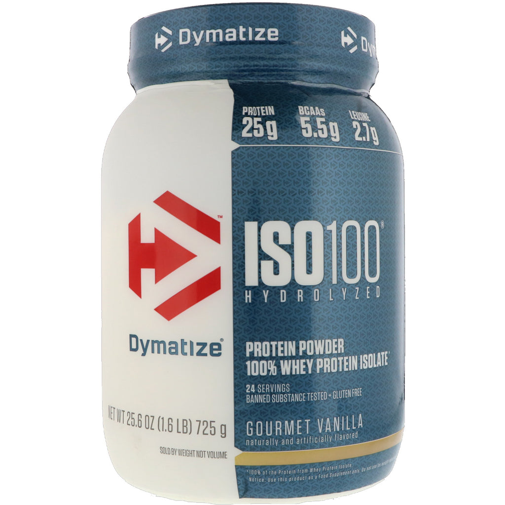 Dymatize Nutrition, ISO 100 Hydrolyzed, 100% Whey Protein Isolate, Gourmet Vanilla, 25.6 oz (725 g)