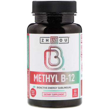 Zhou Nutrition, Methyl B-12, Bioactive Energy Sublingual, Natural Cherry Flavor, 60 Micro Lozenges