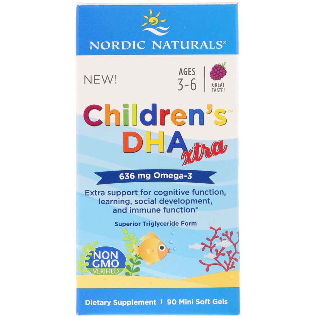 Nordic Naturals, Children's DHA Xtra, Berry Punch, 636 mg, 90 Mini Soft Gels