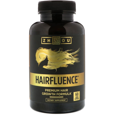 Zhou Nutrition Hairfluence Premium Hair Growth Formula 60 Veggie Capsules
