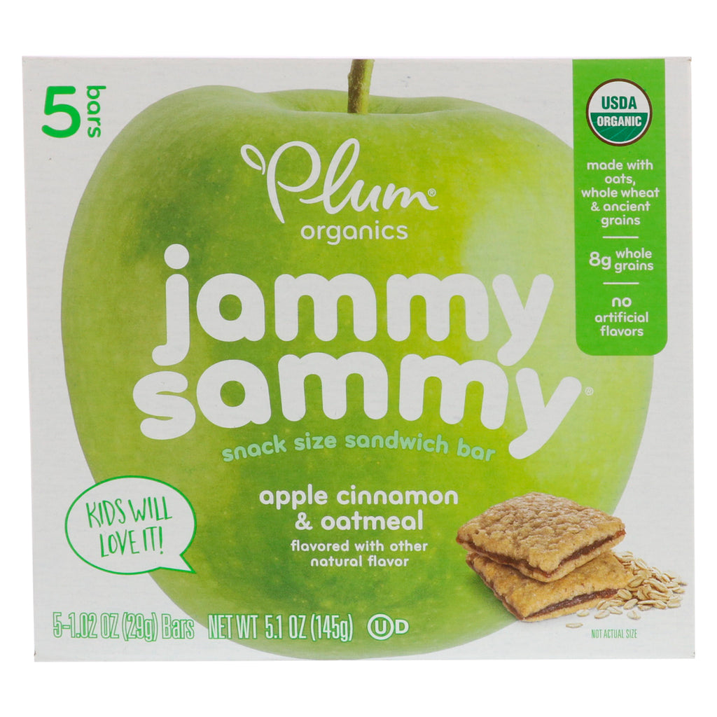 Plum Organics Jammy Sammy Apple Cinnamon & Oatmeal 5 Bars 1.02 oz (29 g) Each