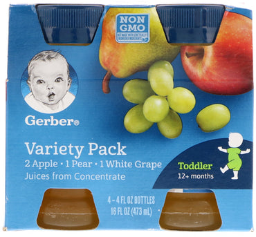 Gerber, Variety Juice Pack, Toddler, 12+ Months, 4 Pack, 4 fl oz (118 ml) Each