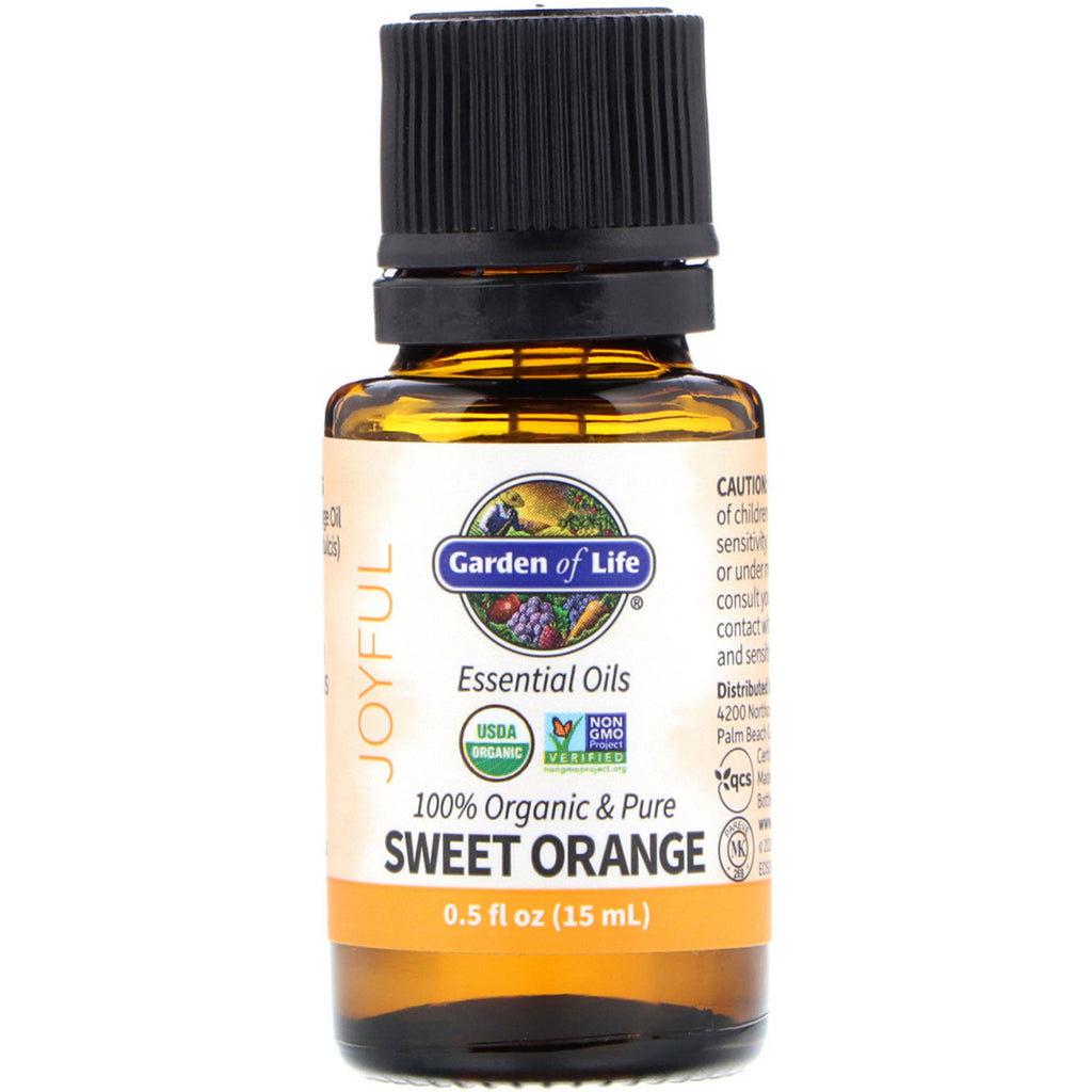 Garden of Life, 100% Organic & Pure, Essential Oils, Joyful, Sweet Orange, 0.5 fl oz (15 ml)