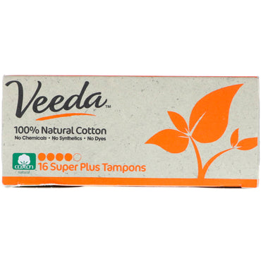 Veeda, 100% Natural Cotton Tampon, Super Plus, 16 Tampons
