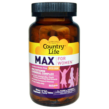Country Life, Max, for Women, Multivitamin & Mineral Complex, With Iron, 120 Tablets