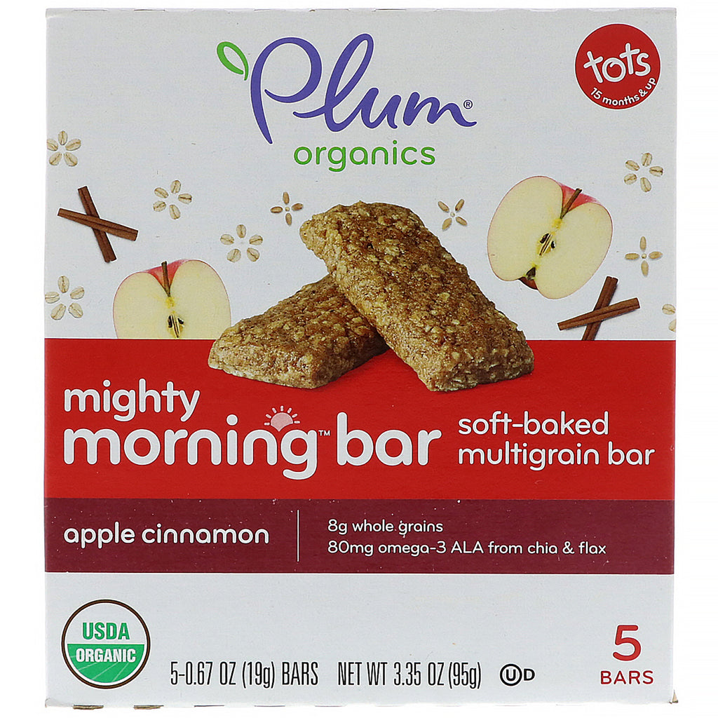 Plum Organics Mighty Morning Bar Tots Apple Cinnamon 5 Bars 0.67 oz (19 g) Each