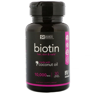 Sports Research, Biotin with Organic Coconut Oil, 10,000 mcg, 30 Veggie Softgels