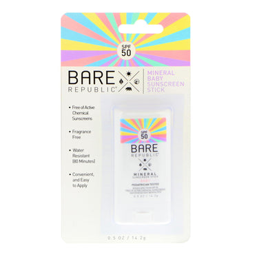 Bare Republic Mineral Baby Sunscreen Stick SPF 50 0.5 oz (14.2 g)
