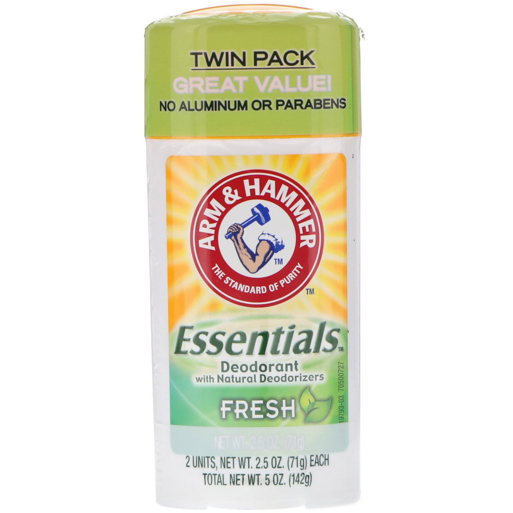 Arm & Hammer, Essentials Natural Deodorant, Fresh, For Men and Women, Twin Pack, 2.5 oz (71 g) Each
