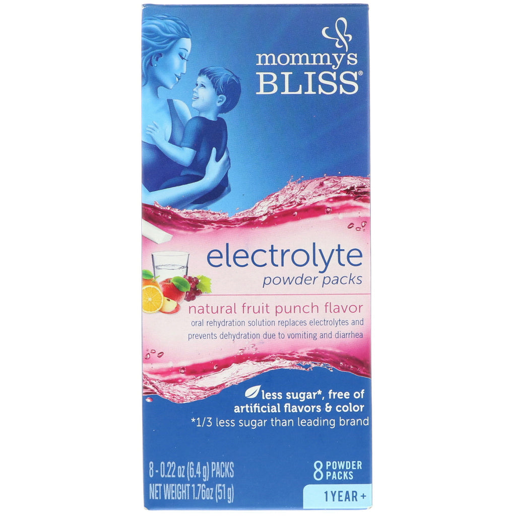 Mommy's Bliss, Electrolyte Powder Packs, Natural Fruit Punch Flavor, 1 Year +, 8 Powder Packs, 0.22 oz (6.4 g) Each