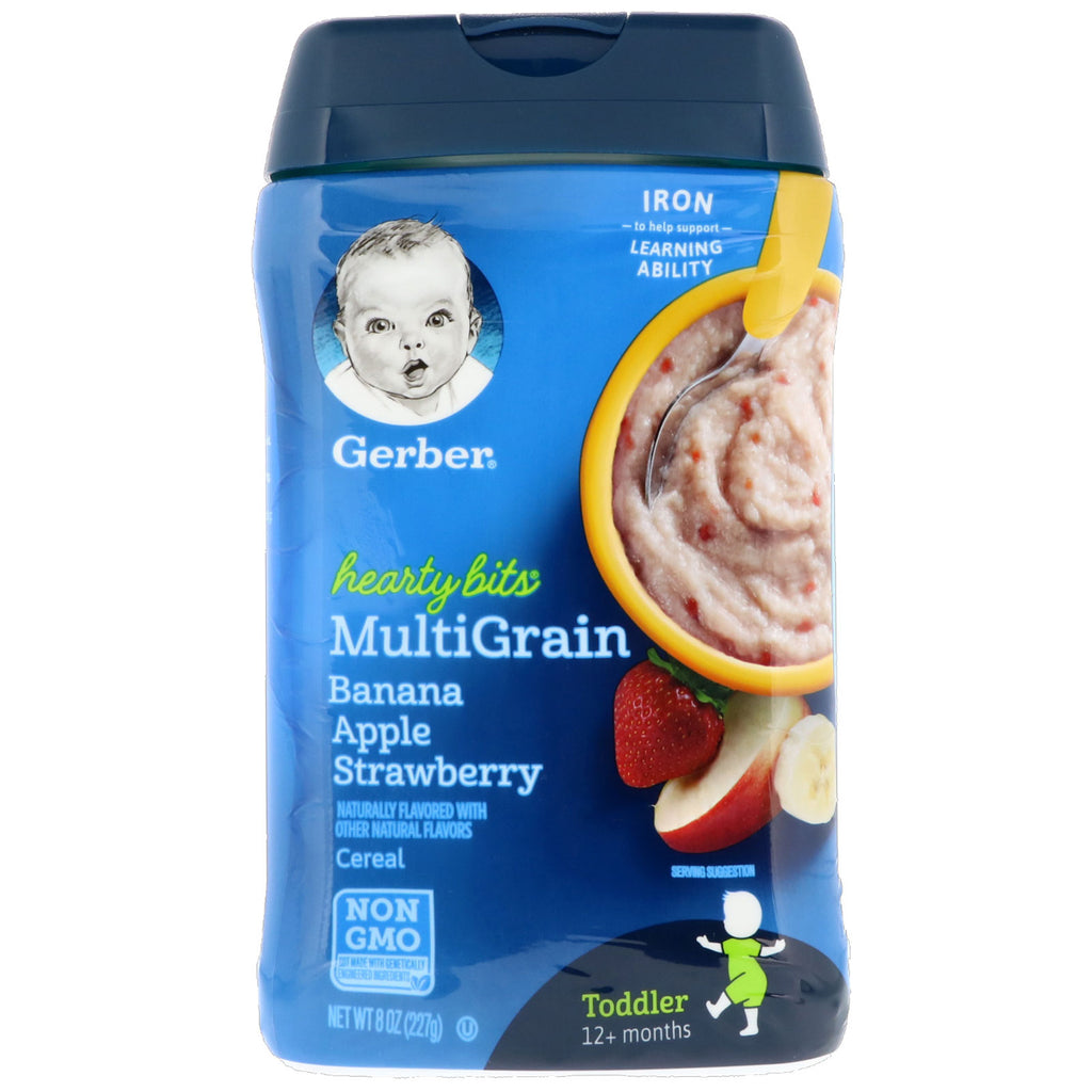 Gerber Hearty Bits MultiGrain Cereal Toddler 12+ Months Banana Apple Strawberry 8 oz (227 g)
