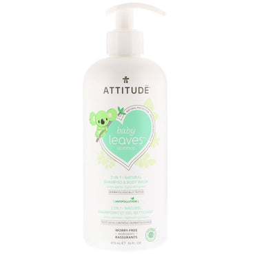 ATTITUDE, Baby Leaves Science, 2-In-1 Natural Shampoo & Body Wash, Sweet Apple, 16 fl oz (473 ml)