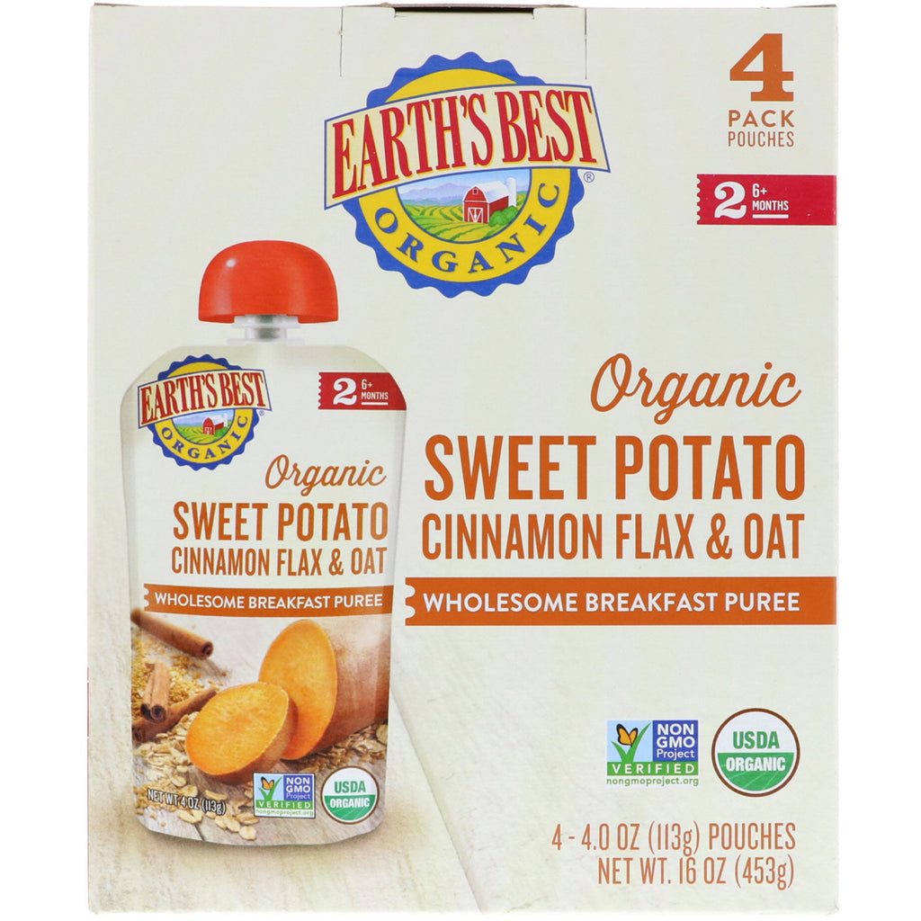 Earth's Best Organic Sweet Potato Cinnamon Flax & Oat Wholesome Breakfast Puree 6+ Months 4 Pouches 4.0 oz (113 g) Each