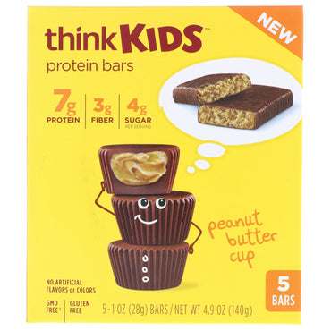 ThinkThin ThinkKids Protein Bars Peanut Butter Cup 5 Bars 1 oz (28 g ) Each