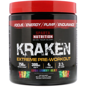 Sparta Nutrition, Kraken Extreme Pre-Workout, Sour Gummy Bear, 11.29 oz (320 g)
